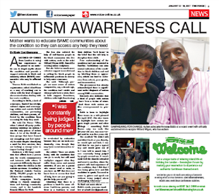 An article in The Voice bringing awareness of autism to the BAME community and the Church.